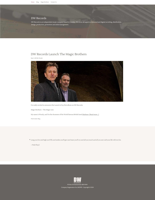 Portfolio DW Records Homepage